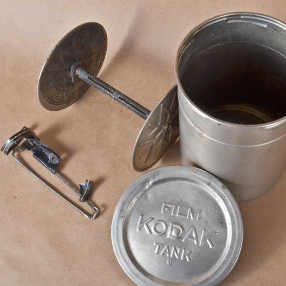 1908 Metal Kodak Darkroom Film Processing Tank with Reel