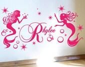 StickTak Stickers Custom Name Mermaid Stars Bubbles Vinyl Sticker Wall Art Decal Nursery