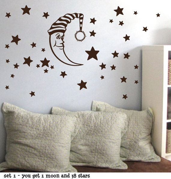 StickTak Stickers Moon Stars Children Baby Nursery Vinyl Wall Stickers -
