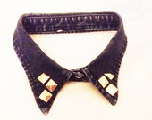Vintage Style Dark Blue Denim Sliver Studded Collar Choker Necklace