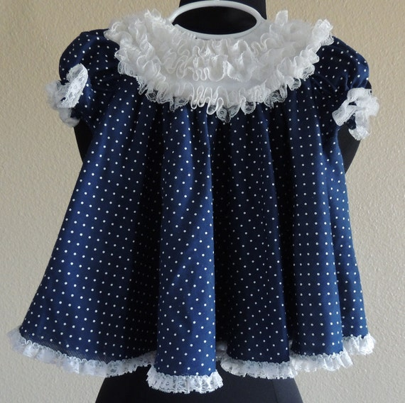Adorable Vintage Baby Girl Dress, Diaper Cover Set, Navy & White Polka Dot with Lace Trim