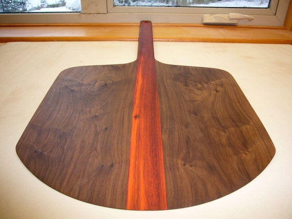 Pizza Paddle & Baker's Peel Padauk and American Walnut  Funky Gift for the Chef and Gourmet