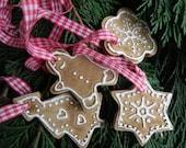 SALE Christmas Ceramic Ornaments Caramel Star, Flower, Gingerbread Man, Tree Eco Friendly Pottery set of 4