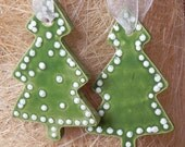 SALE Ceramic Ornaments 2 Green Christmas Tree White Dots Organza Ribbon recycled Box