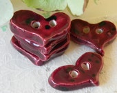 Burgundy Red Heart Ceramic Buttons with Black Dots, 6 Pieces Eco Friendly Hand-made Buttons