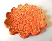 Ceramic Flower Plates, Orange Dish, Ring Holder with Lace Pattern