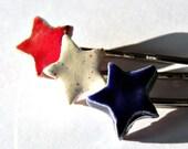 Ceramic Stars Hair Pins, 3 Bobby Pins