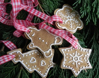 Christmas Ceramic Ornaments Caramel Star, Flower, Gingerbread Man, Tree Eco Friendly Pottery set of 4