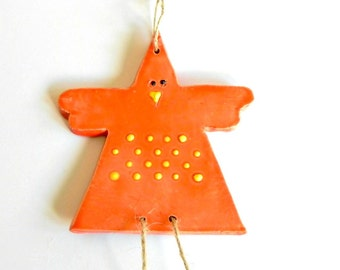 Orange Chicken Ceramic Ornament  Easter Decoration Yellow Dots Eco Friendly Animal Pottery