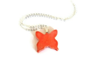 Orange Ceramic Butterfly Necklace Animal Pottery Sterling Silver Plated Chain