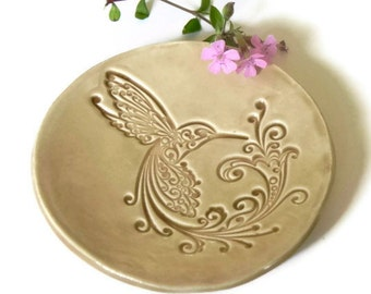 Hummingbird Ceramic Dish, Sand Color Plate, Bird Ring Holder in a Recycled Paper Box