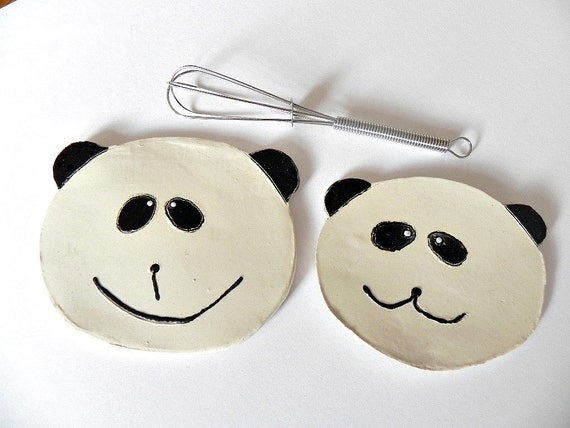 Mothers Day Gift Panda Set Ceramic Dishes Mom Baby Pottery Black and White Plates, Eco Friendly Spoon Rest