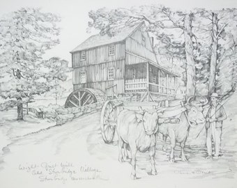 """Custom Made """"Wight Grist Mill"""" Picture Charles H. Overly 11 1/2in x 7 1/2in  Vintage Paper"""