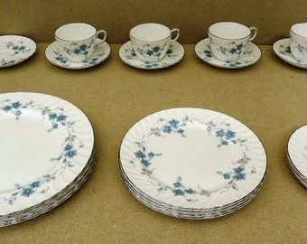 Aynsley Bone China Place Setting Set Delphine with Silver Trim
