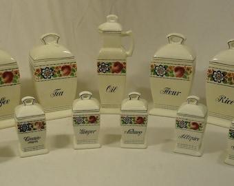 Bruhl 3826 Vintage German 13 Piece Kitchen Cannister & Spice Set Ceramic