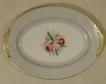 Noritake 5049 Vintage Serving Platter 12in x 9in x 1in China Gold Rim