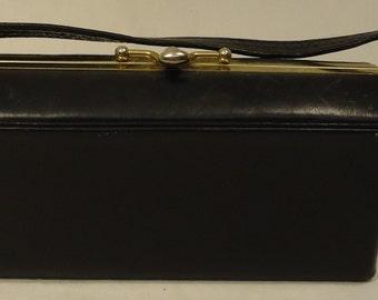 Parker Purse Vintage Leather Female Adult Evening Bag Black Solid 60-56ry