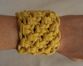 yellow bracelet / cuff - upcycled t-shirt yarn   -  free shipping