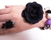 20% OFF gothic black rose crystals beads bracelet cuff silver chain rose engagement ring small silver heart LIMITED EDITION 3