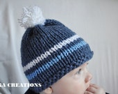 Knit Baby Hat, Baby Photo Prop, blue jeans color, baby boy pom pom hat,Photography Prop, available in different sizes,