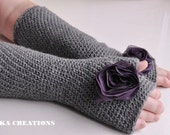 Long Fingerless Gloves, grey color with purple flower, crochet arm warmers, Valentines gift, Available in other colors