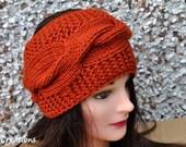 Knit Headband, cable design, burnt orange color, Knitted Earwarmer, for adult or teen girl,  orange knitted headband,Chunky Knit headband