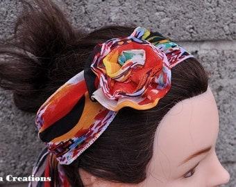Flower Headband, colorful headband with flower, headband for spring, removable flower headband,