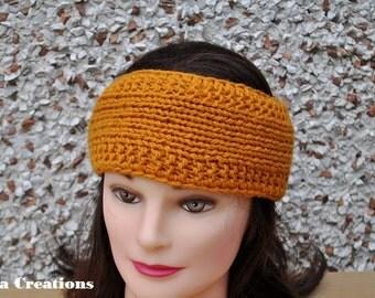 Knitted  Headband, honey color, adult  headband , teen girl headband, burnt orange color,