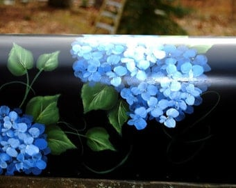 Hand Painted Blue Hydrangea Mailbox on black