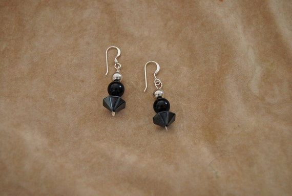 Onyx  and Hematite Sterling Silver Earrings