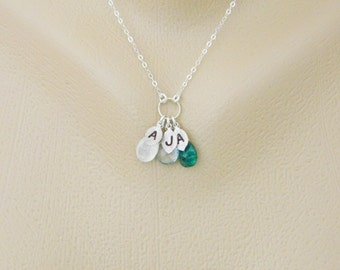 Personalized Three Initial Mother Necklace, 3 Birthstones Jewelry, Sisters Necklace, Sister Necklace, Grandmother Necklace