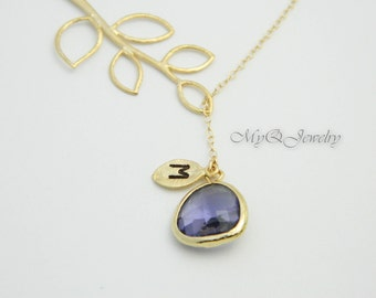 Lariat GOLD Monogram Necklace, Initial Necklace, Amethyst Jewelry, February Birthstone, Bridesmaid Gift, Personalized Bridesmaid Jewelry