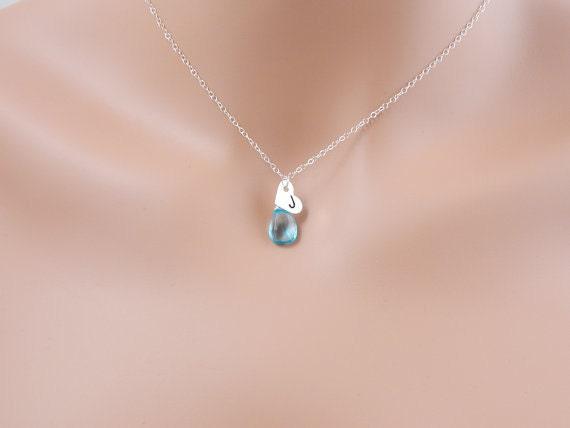 heart charm initial necklace december birthstone necklace. Black Bedroom Furniture Sets. Home Design Ideas