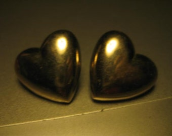 Vintgage Silvertone Heart Pierced Earrings