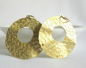 round textured gold tone earring findings 33mm (1 pair)