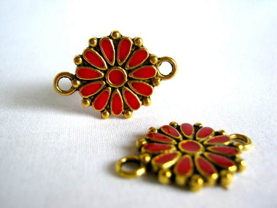 flower connector - gold tone with red enamel 24mm (2)