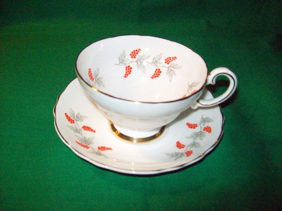 One (1), Fine Bone China, Tea Cup and Saucer, by Crown, Staffordshire, of England, in the CRS 2, Red Berries and Gray Leaves Pattern.