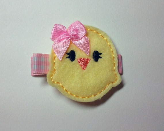 Easter Chick Felt Hair Clip - Yellow Chick with matching Pink Bow and Gingham Lined Clip (READY TO SHIP)