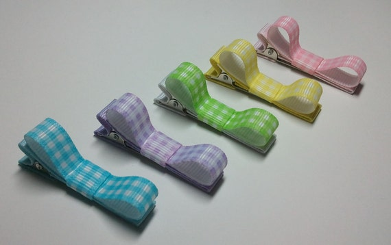 Pastel Gingham Tuxedo Bows - 5 clips with or without NonSlip Grip - Barrettes for Baby Toddler - Great for Baby Shower Gifts (QUICK TO SHIP)