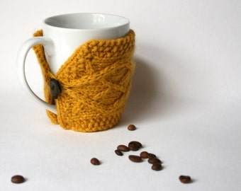 yellow mug cozy, mustard cup cozy, coffee sleeve, coffee cozy