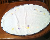 Hand embroidered tablecloth with tatted border