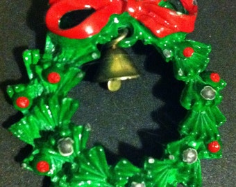 Christmas wreath with bell pin