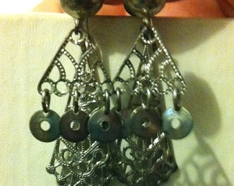 "Silver ""3-D"" dangle earrings"
