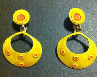 Yellow and orange hoop earrings