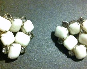 White stone clip earrings