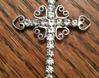 Rhinestone cross pendant with silver chain