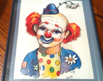 3D Clown Art in frame - PRICE REDUCED