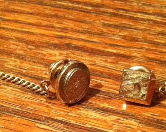 Vintage men's tie pins with chains