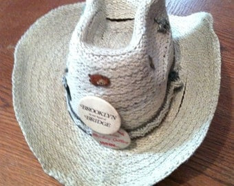 Straw Cowboy Hat with pins