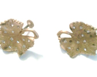 Gold Leaf Shaped Screw Back Earrings with Rhinestones